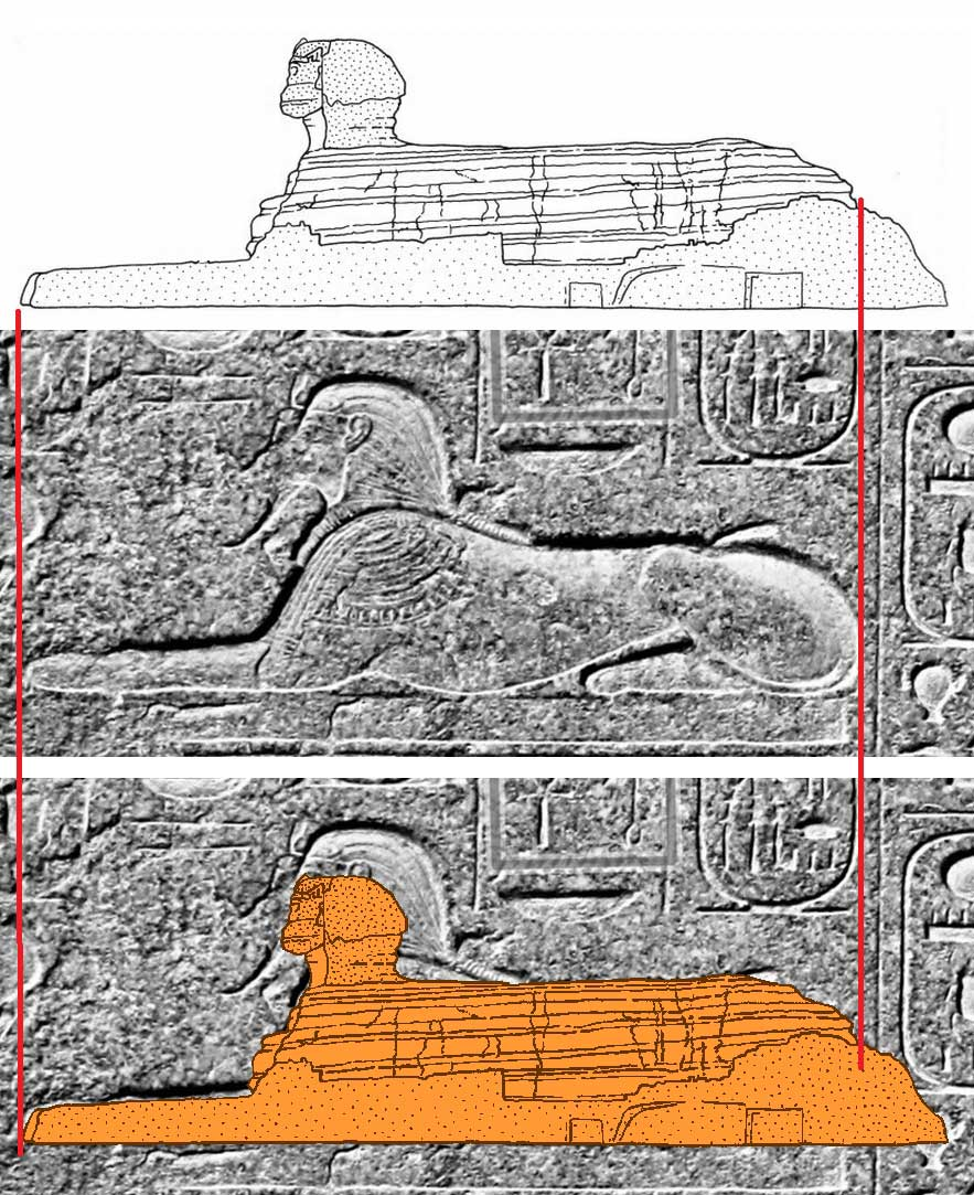 Figure 39. Overlay of Sphinx drawing and Sphinx on Dream Stela