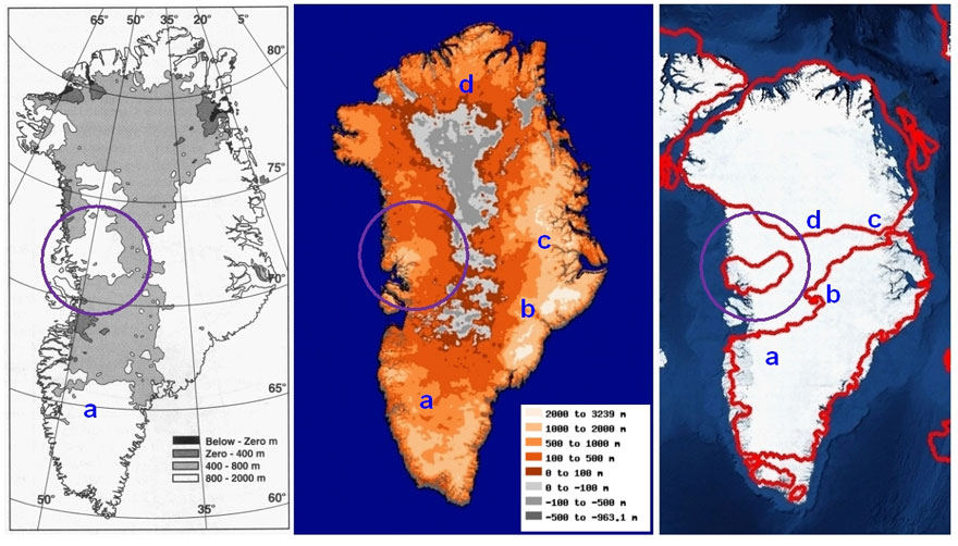Greenland bedrock maps compared to Greenland map as transposed from Mercator's map of the North Pole