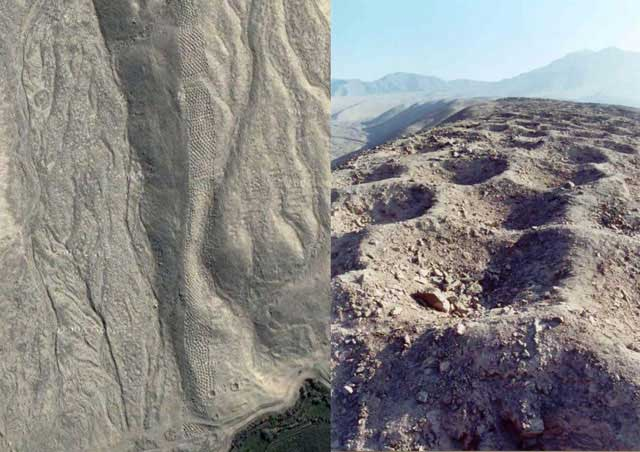 Band of holes (holes 1m diameter, 1m deep, 1 km long) at